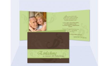 Einladung 60. Geburtstag, Klappkarte 10x15 cm, braun grün