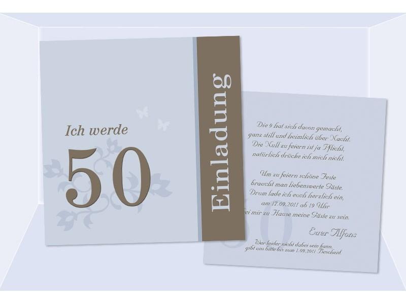 einladung 50. geburtstag, flachkarte 12,5x12,5 cm, hellblau, Einladungskarten
