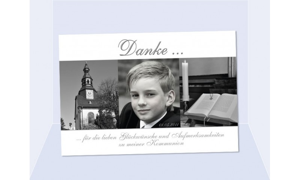 Danksagung Kommunion / Konfirmation, Fotokarte 10x15 cm, weiß