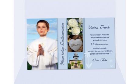 Danksagung Kommunion / Konfirmation, Fotokarte 10x15 cm, flieder