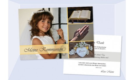 Danksaungskarte Kommunion / Konfirmation, 10x15 cm, gelb