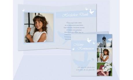 "Danksagungskarte Kommunion / Konfirmation, ""Taube"""
