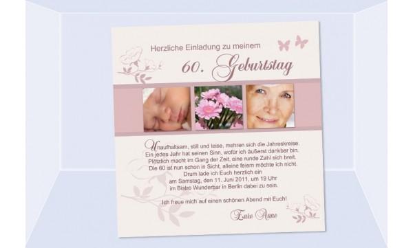 Einladung 60. Geburtstag, Fotokarte 12,5x12,5 cm, creme rosé