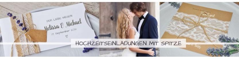 Einladungskarten Hochzeit mit SPITZE inkl. gratis Gestaltungsservice!
