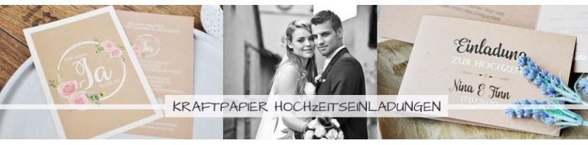 Einladungskarten Hochzeit Kraftpapier - gratis Gestaltungsservice!