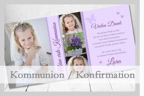 Kommunionkarten Einladung, Danksagung Konfirmation mit kostenlosem Gestaltungsservice