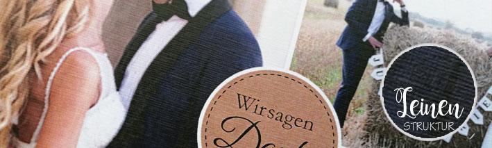 Papierveredlung Dankeskarten Hochzeit Leinenstrukturpapier