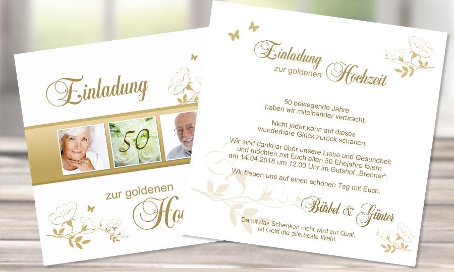 """Einladungstext Goldene Hochzeit """"50 bewegende Jahre"""""""