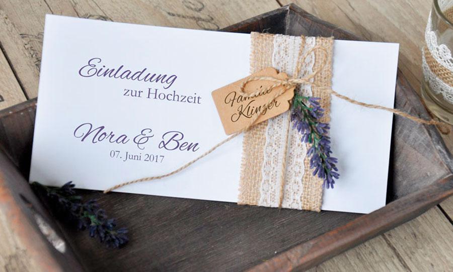Wunderschöne Einladungskarte zu Hochzeit