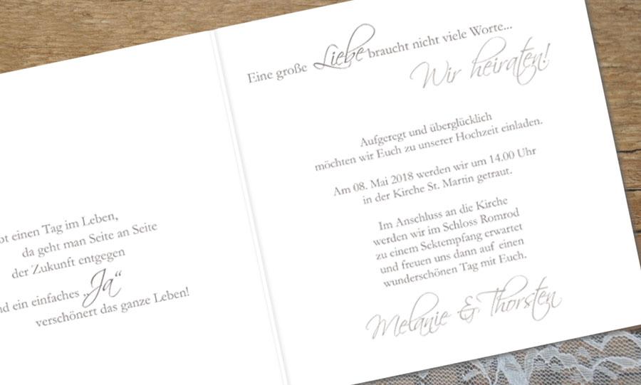 """Hochzeitseinladungstext """"Aufgeregt und überglücklich"""""""