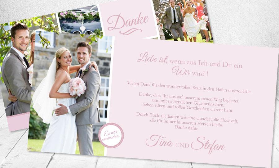"""Text Danksagung Hochzeit """"Vielen Dank für den wundervollen Start iin den Hafen unserer Ehe"""""""