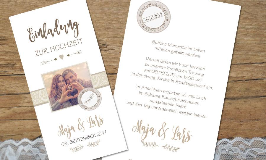 """Einladungstexte Hochzeit """"Schöne Momente im Leben"""""""