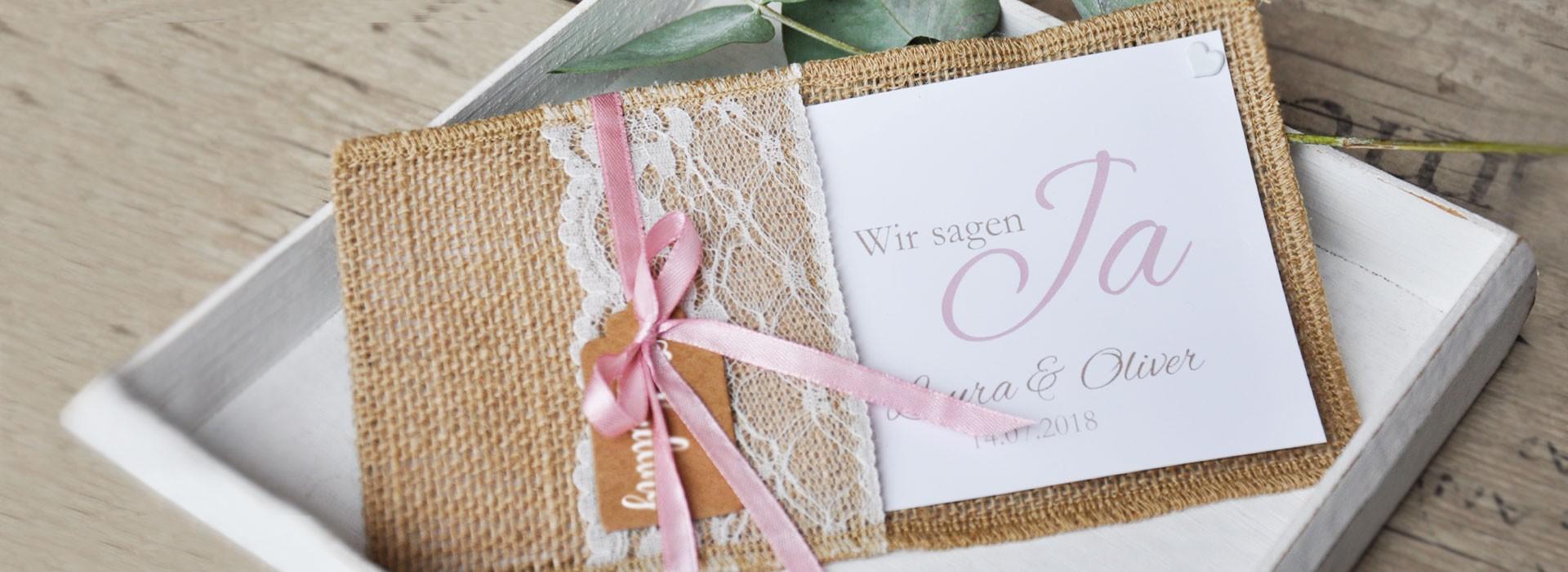 Zauberhafte Hochzeitseinladungen mit kostenlosem Gestaltungsservice
