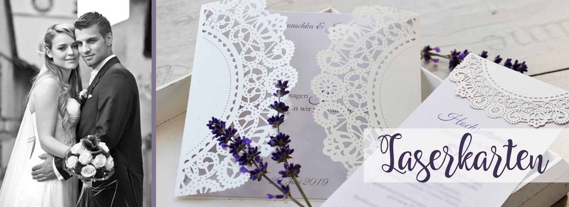Vintage Hochzeitseinladungen mit edler Lasercut Spitze und Lavendel