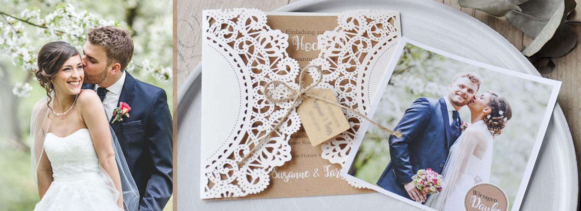 Individuelle Hochzeitseinladungen mit Spitze und Kraftpapier - hier mit gratis Gestaltungsservice bestellen!