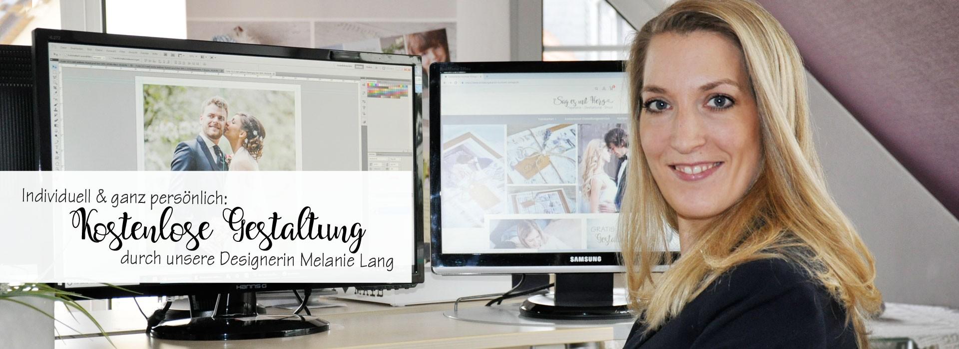 Gratis Gestaltung Ihrer Einladungen und Dankeskarten durch unsere Designerin Melanie Lang